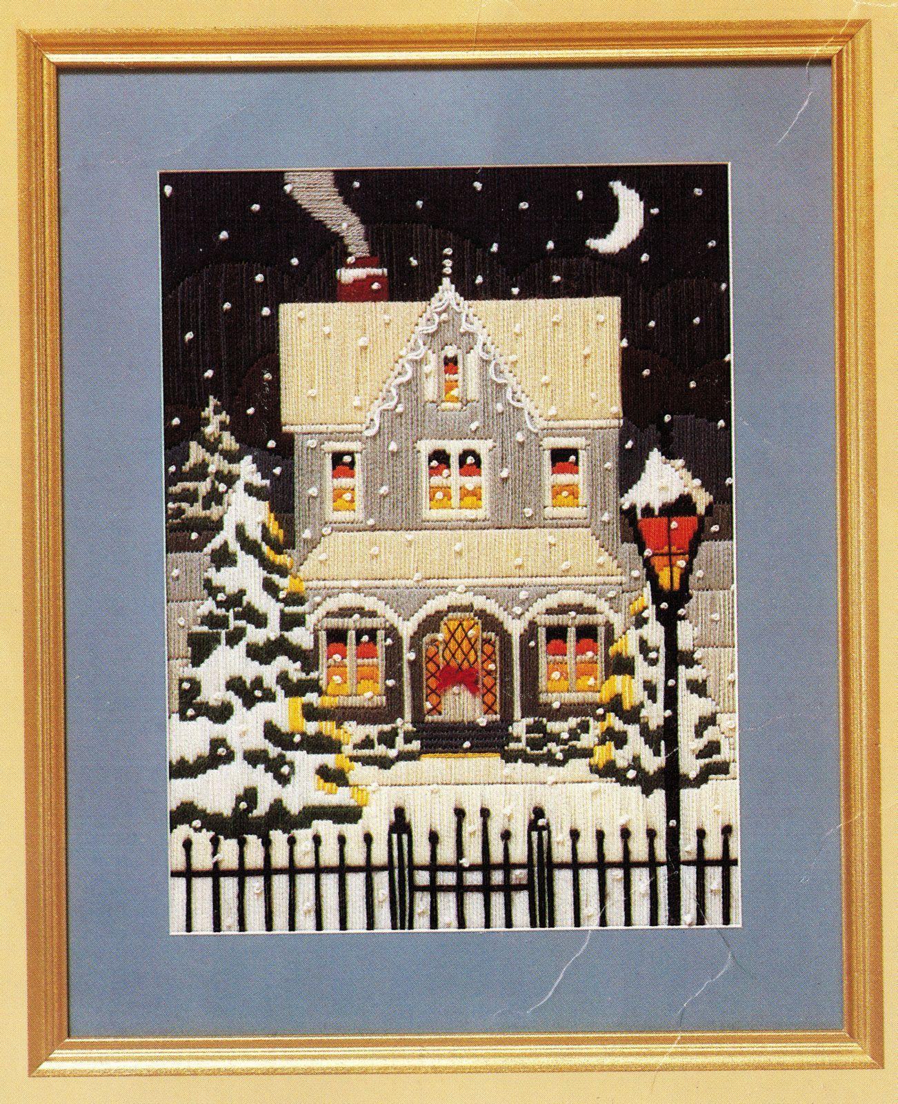"1986 Creative Circle Needlepoint A Winter's Night Diane Sage Kit 12"" X 16"" - $18.99"