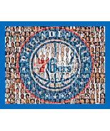 Philadelphia 76ers Mosaic Print Art Designed Using 70 Player Photos From... - $24.99+