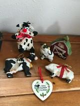Gently Used Lot of Ceramic & Fabric Barn Dairy Cow Pig Farmyard Christma... - $14.71