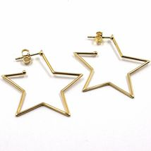 18K YELLOW GOLD PENDANT STAR EARRINGS, 1.4 INCHES LENGTH, MADE IN ITALY image 3