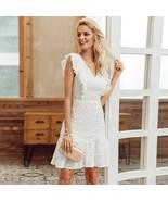 White lace ruffle cotton embroidery short bodycon women mini dress sprin... - $39.00