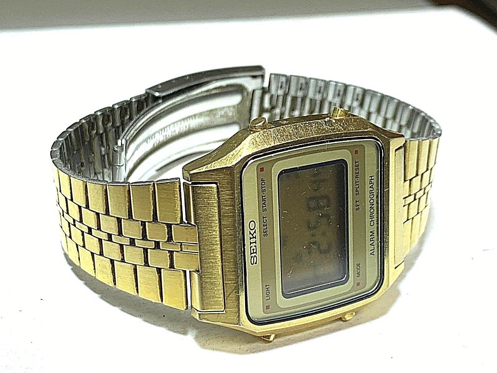 SEIKO VINTAGE DIGITAL A914-5A09 IN GOOD CONDITION FULL FUNCTIONAL GOLD TONE
