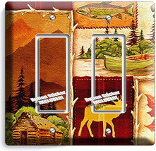 Hunting Cabin Fishing Moose Patchwork 2 Gfci Light Switch Wall Plates Room Decor - $13.99
