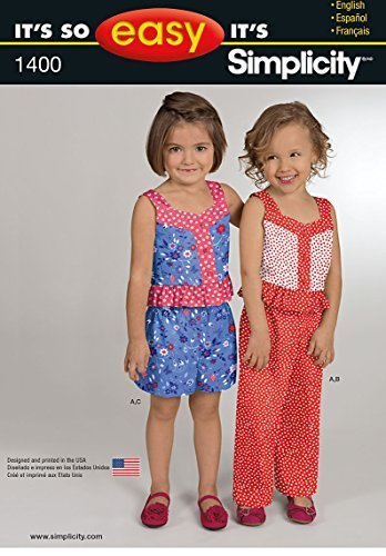 Simplicity It's So Easy Pattern 1400 Girls Top, Pants or Shorts Sizes 3-4-5-6-7-