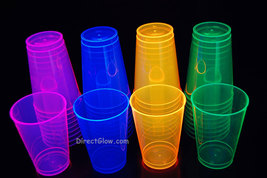 12oz 40ct Assorted Blacklight Reactive Hard Plastic Cups + Blacklight Ba... - $21.95