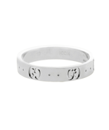 Auth Gucci Icon Logo 18K White Gold 6 mm Wide Ring Size 5 »U424 - $506.85
