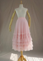 Pink Tiered Tulle Midi Skirt Pink Princess Tulle Tutu Midi Skirt Outfit Wedding  image 3