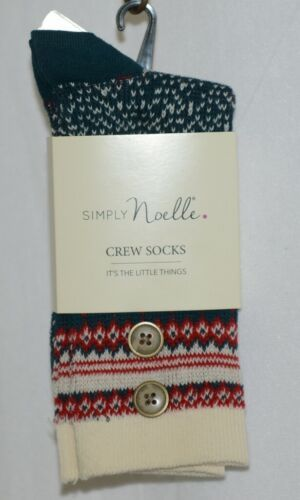 Simply Noelle Red Green Cream Crew Socks One Size Fits Most