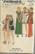Vintage Butterick Pattern #6491-Teen Dress-Pinafore-Pants-Shorts 13/14 - $8.56