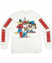 NEW LOONEY TUNES WHITE LONG SLEEVE GANGSTER CHARACTER GRAPHIC T-SHIRT SI... - $12.86
