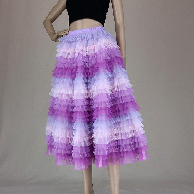 Hot Pink Purple Gray Purple Women Tier Tulle Skirts Mesh Skirt Full Midi Skirts