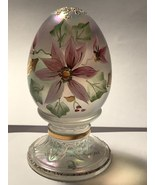 Fenton Glass Limited Edition Egg Opalescent with Christmas Poinsettias - $15.00