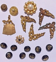 lot embellishments scrapbook Gold Metal buttons ornate corner decorative... - $8.00