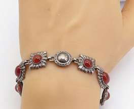 DAVID SIGAL 925 Silver - Vintage Carnelian Fluted Detail Chain Bracelet ... - $66.49