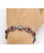 DAVID SIGAL 925 Silver - Vintage Carnelian Fluted Detail Chain Bracelet ... - $66.49