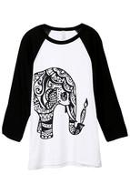 Thread Tank Artisan Elephant Unisex 3/4 Sleeves Baseball Raglan T-Shirt Tee Whit - $24.99+