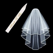 Double Ribbon Edge Center, Cascade Bridal Wedding Veil with Comb and Bride - $9.90