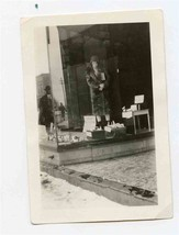 Woman Standing in Store Show Room Window Black and White Photo - $17.82