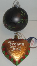 2 Lauscha Glass Ornaments Lot Germany Lauschaer Glaskugelhaus Frohes Fes... - $9.49
