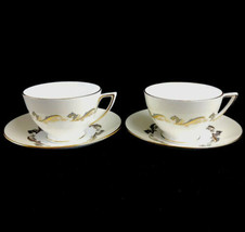Two Vintage Minton Gold Laurentian Cups & Saucers Bone China England H-5184  - $23.33