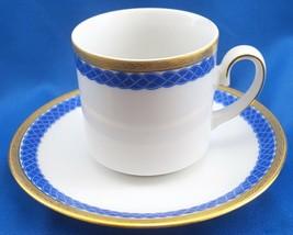 Zehendner Bavaria Demitasse Cup and Saucer Cobalt Blue Braid Gold Encrusted Rim - $15.84