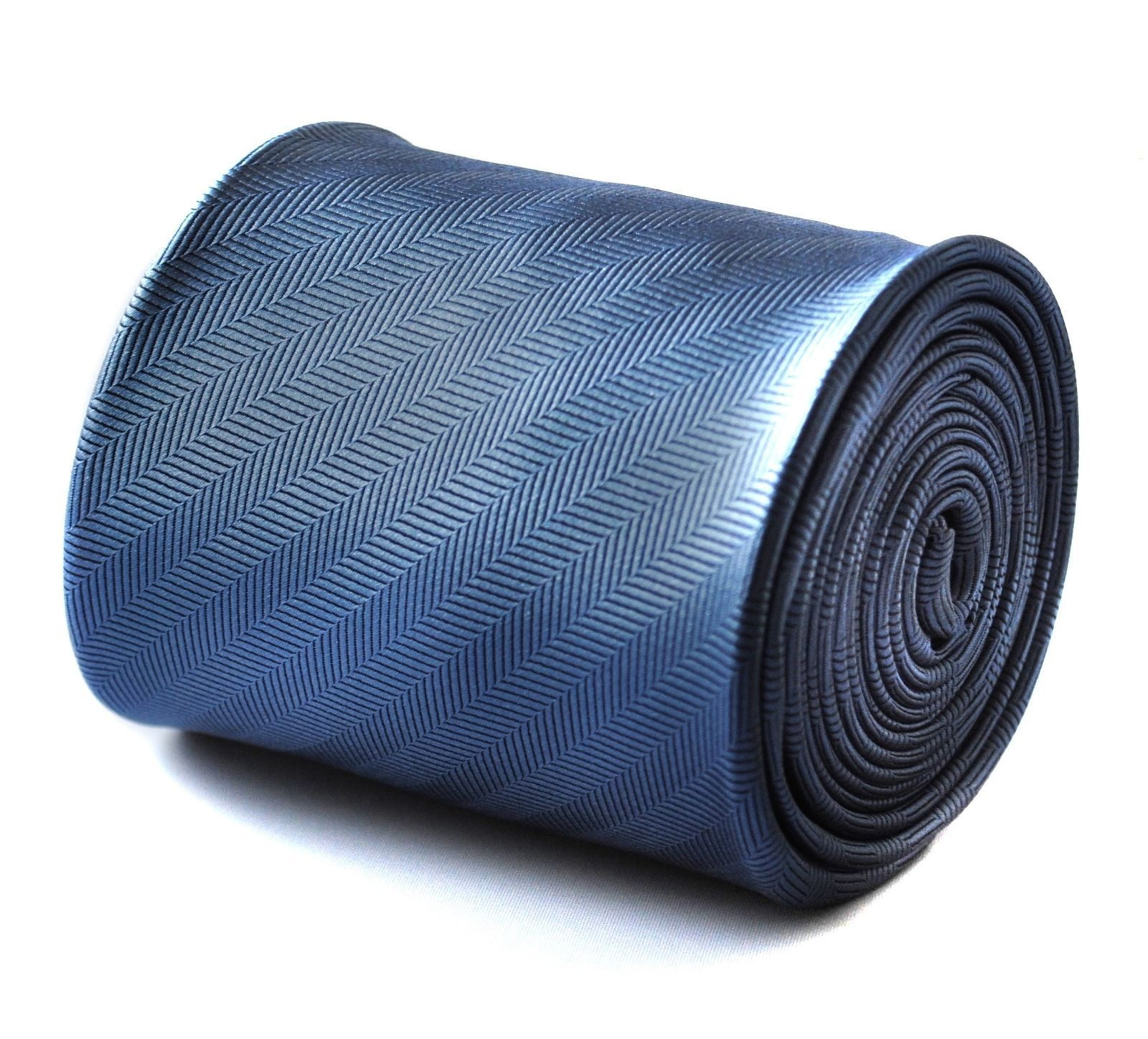 Frederick Thomas plain blue tie with herringbone pattern