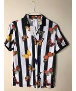 Fashion Nova Men Size M Butterfly Too Fly Short Sleeve Polo Shirt Black ... - $27.51