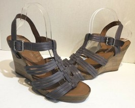 franco sarto Taupe Purple strappy cage leather wedge heels Women's Size ... - $19.79