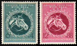 1944 Race Horse Set of 2 Germany Postage Stamps Catalog Number B284-85 MNH