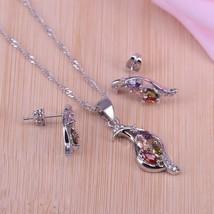 promotion peace pigeon square  Silver Color earrings-necklace set Colorf... - $22.01