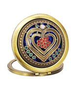 Vintage Round Compact Mirror Travel Makeup Mirror Handbag Mirror, Heart - $16.27