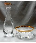 "Crystal Clear 8"" Lead Crystal Bud Vase Italy Gold Trim and Bonus Dish  - $9.89"