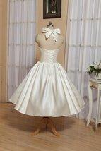 1905's Vintage White Halter Satin Tea Length Wedding Dress With Bow image 5