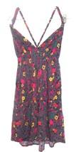 Sz Jrs M - Xhilaration Gray Floral Criss Cross Halter Dress or Long Tuni... - $16.14