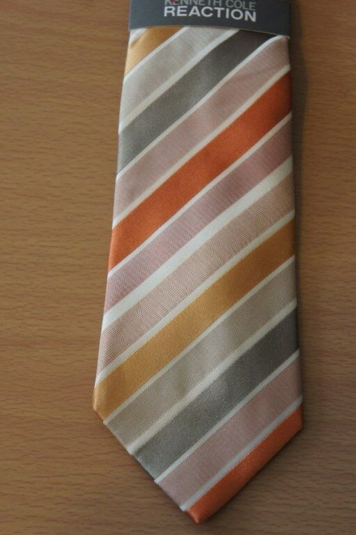 Kenneth Cole Reaction Men's Tie Orange Multi Prince Stripe Classic Necktie  image 2
