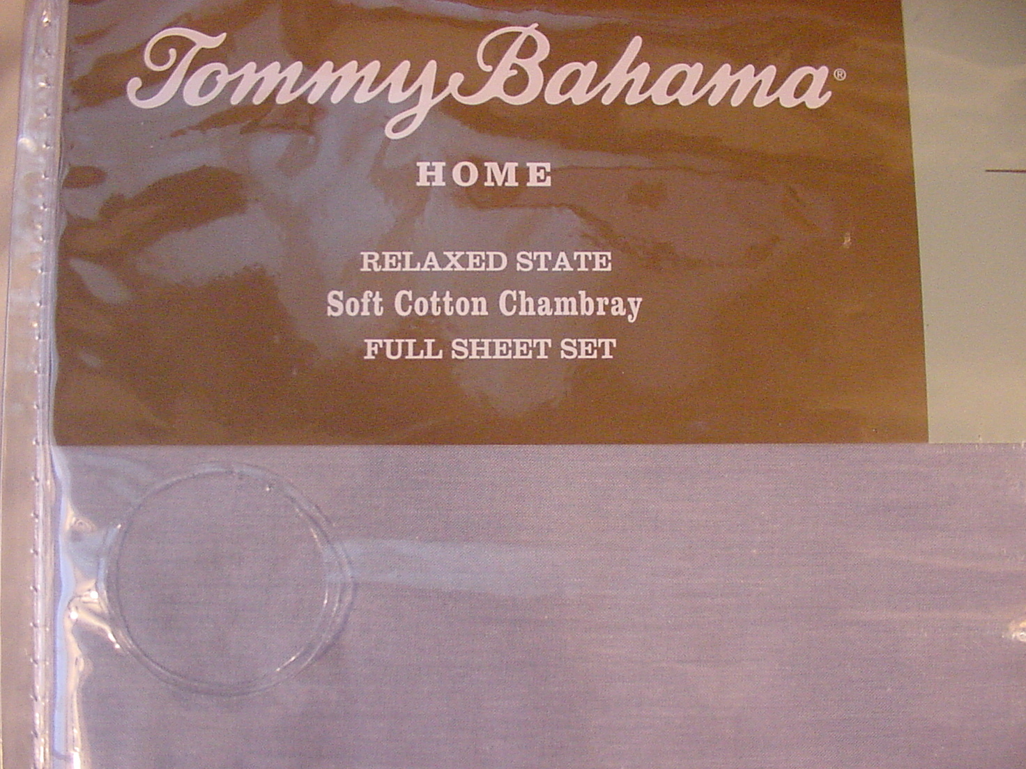 Tommy Bahama Relaxed Cotton Chambray Sky Blue Sheet Set Full