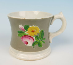 Antique Staffordshire Pearlware Relief Molded Mug Rose English Pottery Cup - $19.50