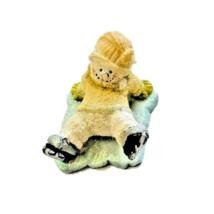 Russ Berrie Snowman Figurine Ice Skater Fell down Miniature Christmas De... - $9.89