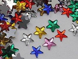 "8mm 5/16"" Assorted Colors Flat Back Stars Acrylic Jewels Rhinestones Gems Card M - $8.90"
