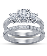 Three Stone Bridal Wedding Ring Set Round Cut CZ White Gold Plated 925 Silver - $89.99
