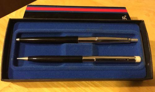 Vtg Scheaffer Pen & Pencil Set Black Silver
