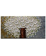 Azure Art-Abstract Wall Art White Flowers Painting Modern Oil Painting o... - $58.06