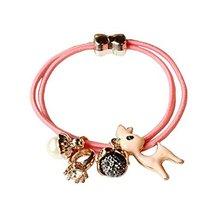 Set of 4 Beads Diamond Flower Deer Hair Rope Ponytail Holders, Pink