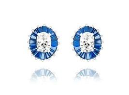 Halo Blue Baguette+Round Oval VVS CZ Sterling Silver Martini Stud Earrings - $59.39