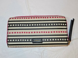 Fossil SWL2034339 Eliza clutch pink Dots Off white pink black clutch wal... - $49.84