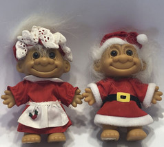 "Vintage Christmas Santa and Mrs. Claus Russ Trolls Santa Clause 4""  - $39.19"