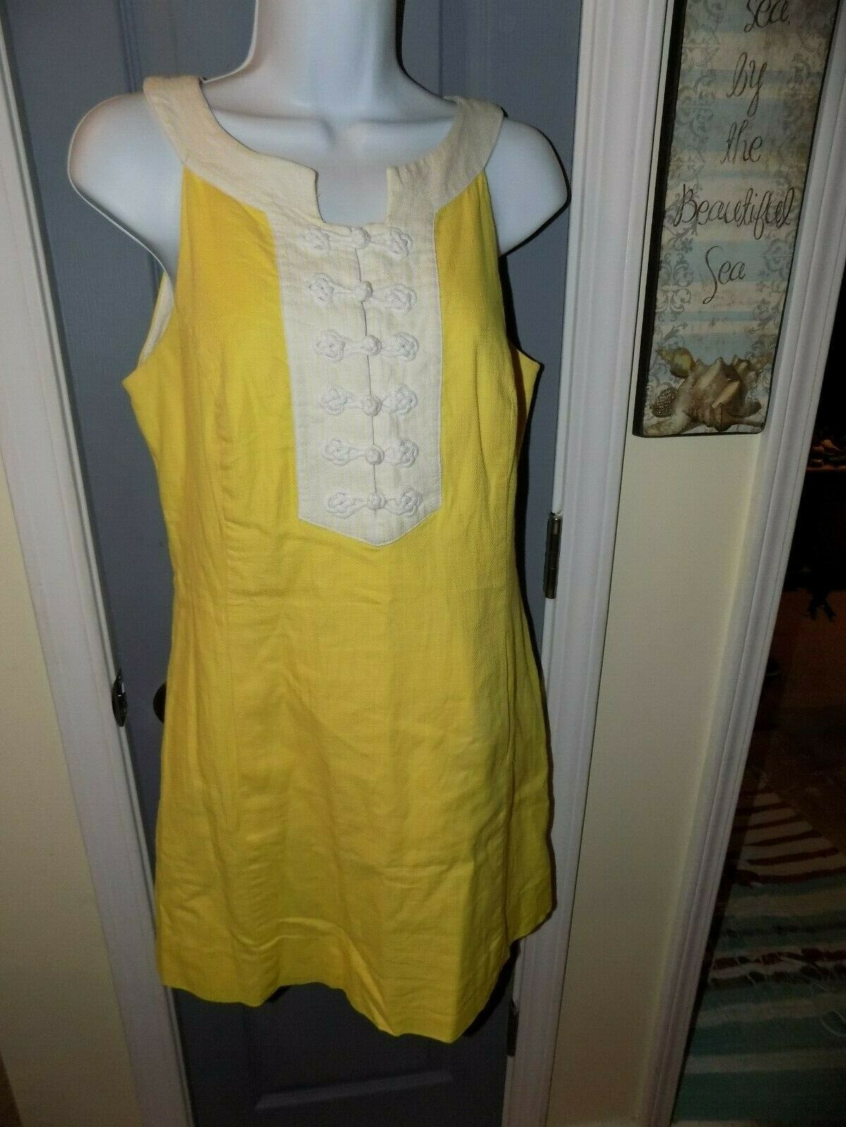 Primary image for Lilly Pulitzer Yellow Nautical Knot Shift Dress Size 8 Women's EUC