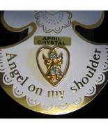 Angel on My Shoulder Pin Crystal Gold brooch hatpin lapel purse April bi... - $3.00