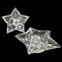 Vintage Hazel Atlas Clear Glass 5 Point Star Taper Candle Holders - Set ... - $2.23