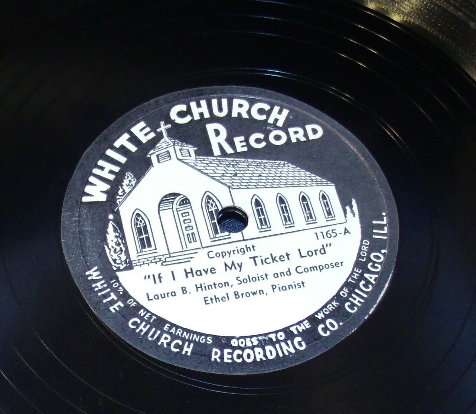 White Church Record # 1165 AA-191720Q Vintage Collectible